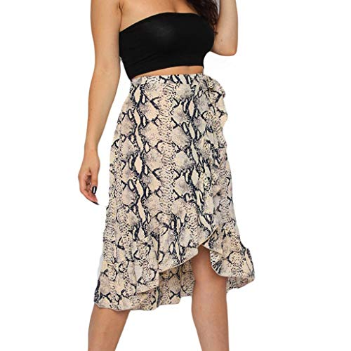 Landscap Womens Ladies Skirts High Fashion Tie Bow Ruffle Hem Wave Frill Wrap Midi Beach Skirt (Black,XL)