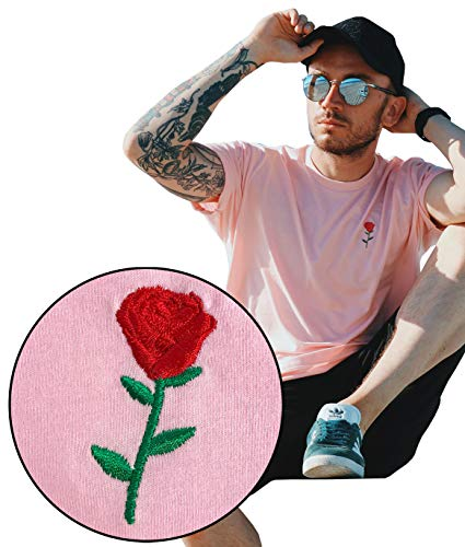 (Riot Society Rose Embroidered Mens T-Shirt - Pink, X-Large)
