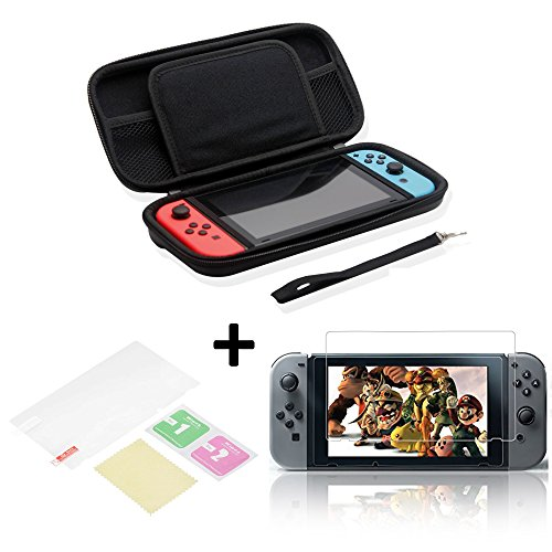 nintendo-switch-carry-case-screen-protector-lanyard-screen-wipe-black-protective-portable-travel-pou
