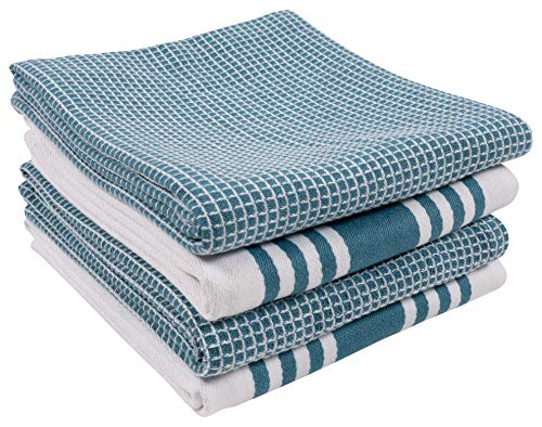 nterband and Waffle Flat Kitchen Towels | 18 x 28 Inch Absorbent, Durable, Soft, and Beautiful Kitchen Towels | Perfect for Kitchen Messes and Drying Dishes - Teal ()