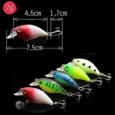 OriGlam 5 Colors 7.5cm Minnow CrankBaits Fishing Lures, Small Fat Simulation Bait Fishing Gear, Topwater Floating Lure, Life-like Swimming Swimbait, Bass Bait Hard Fishing Lure Hooks Bass Crankbait