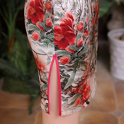 Traditional Muster Kurzärmelige Weiß ACVIP Damen Qipao Cheongsam Rot Blume H57xBqa