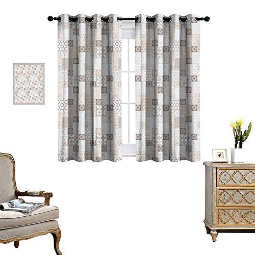 Tan Fabric Taupe Trim Panels - homehot Asian Room Darkening Wide Curtains Oriental Checkered Pattern Grid Style Patchwork Design Mosaic Ornamental Design Decor Curtains by Grey Tan Taupe