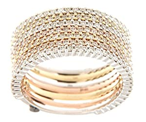 1.65ctw. Round Diamonds 14k Tri-Color Gold (Yellow/White/Pink) Stack Ring
