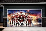 Christmas Santa Decor Garage Door Covers Banners Outdoor Holiday Full Color 3D Print Merry Christmas Decorations Billboard for 2 Car Garage Door House Art Murals size 82x188 inches DAV45