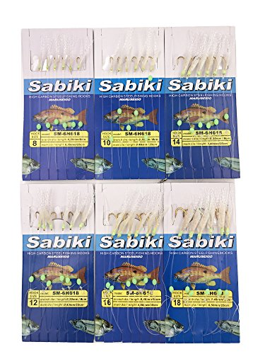 Mimilure Luminous Freshwater/Saltwater Fishing Sabiki Bait Rigs w/True Fish Skin and Feather Hooks 6 pack ()
