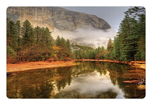 Yosemite Pet Mats for Food and Water by Ambesonne, Trees Reflections on Merced River Yosemite Valley National Park California in the Fall, Rectangle Non-Slip Rubber Mat for Dogs and Cats, - Mercedes Valley