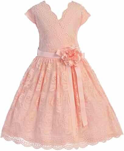 b5753078d0 BluNight Collection Cap Sleeve V Neck Flower Border Stretch Lace Corsage  Belt Flower Girl Dress