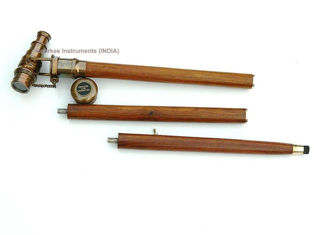 ROORKEE INSTRUMENTS INDIA A NAUTICAL REPRODUCTION HOUSE Compass Rose Telescope Walking Cane