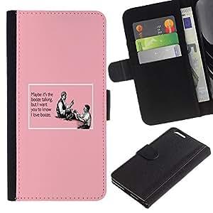 LASTONE PHONE CASE / Lujo Billetera de Cuero Caso del tirón Titular de la tarjeta Flip Carcasa Funda para Apple Iphone 6 PLUS 5.5 / Booze Alcohol Pink Quote Funny Drinking