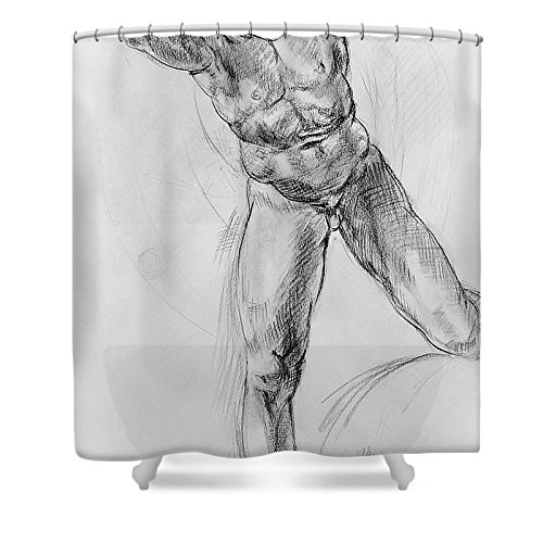 """Pixels Shower Curtain (74"""" x 71"""") """"Old Masters Study Nude Man By Annibale Carracci"""""""