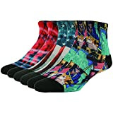 J'colour Men's Boys Teens Youth Fashionable Colorful Pattern Anti-skid Soccer Tennis Patriotic Flag Ankle Socks 6 Pairs