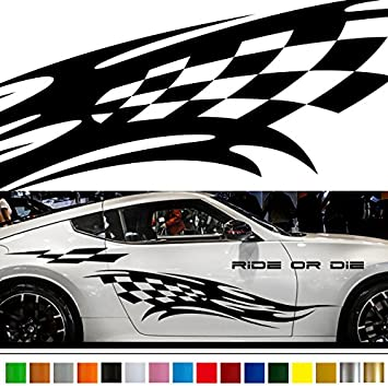 Amazoncom Racing Flag Tribal Car Sticker Car Vinyl Side Graphics - Stickers for the car