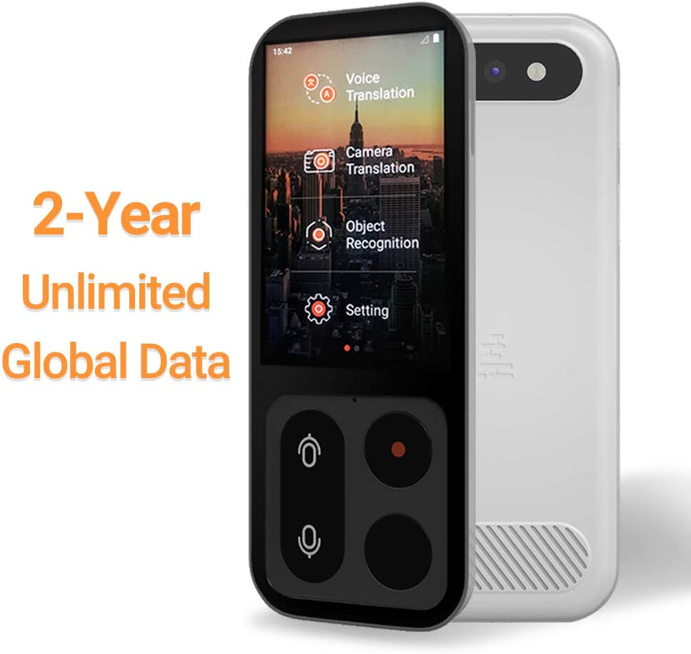 2-Year Unlimited Global Data JoneR Voice Language Translator Device Black Support Photo Translation 3.1-inch Touch Screen 55 Languages +75 Accents Instant Two-Way Portable Translator Fly
