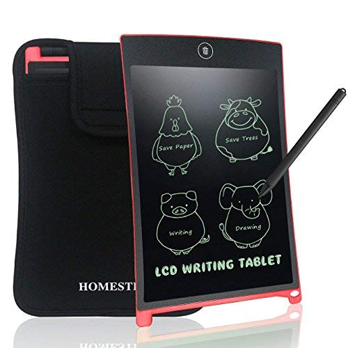 HOMESTEC 8.5 Inch LCD Writing Tablet with Sleeve Touch Pad Office Memo Board Magnetic Fridge Message Whiteboard (Red+case)
