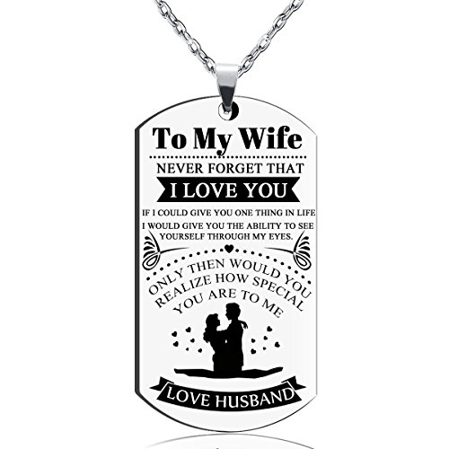 Valentines Day Gifts Jewelry To My Love Wife And Girlfriend Lovers Soulmate Dog Tag Necklace Women Valentine Anniversary Stainless Steel Military Pendant Necklaces
