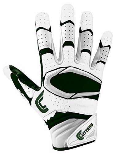 Cutters Gloves Rev Pro 2.0 Receiver Football Gloves, White/Dark Green, Large by Cutters