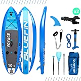 Bluefin VOYAGE SUP Package | 10'10 Stand Up Inflatable Paddle Board | Integrated Stabilizers | Extra Wide Deck | 6' Thick | Fibreglass Paddle | All Accessories | 5 Year Warranty