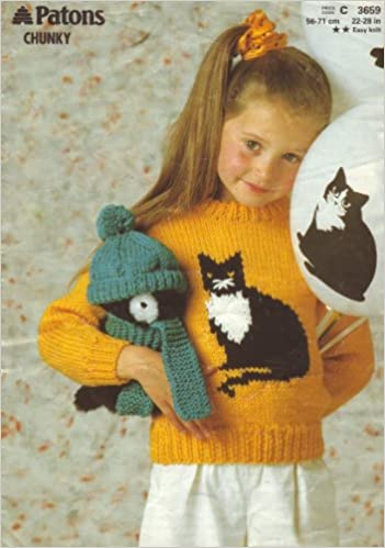 Patons Knitting Pattern 3659 Girls Cat Motif Sweater And Toys