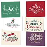 KUUQA 30Pcs Merry Christmas Greeting Cards with Envelopes and Snow Stickers, 6 Christmas Designs