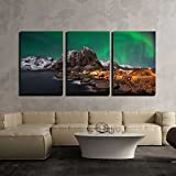 wall26 - 3 Piece Canvas Wall Art - Beautiful Aurora over Hamnoy, in the Lofoten Islands, Norway - Modern Home Decor Stretched and Framed Ready to Hang - 16''x24''x3 Panels