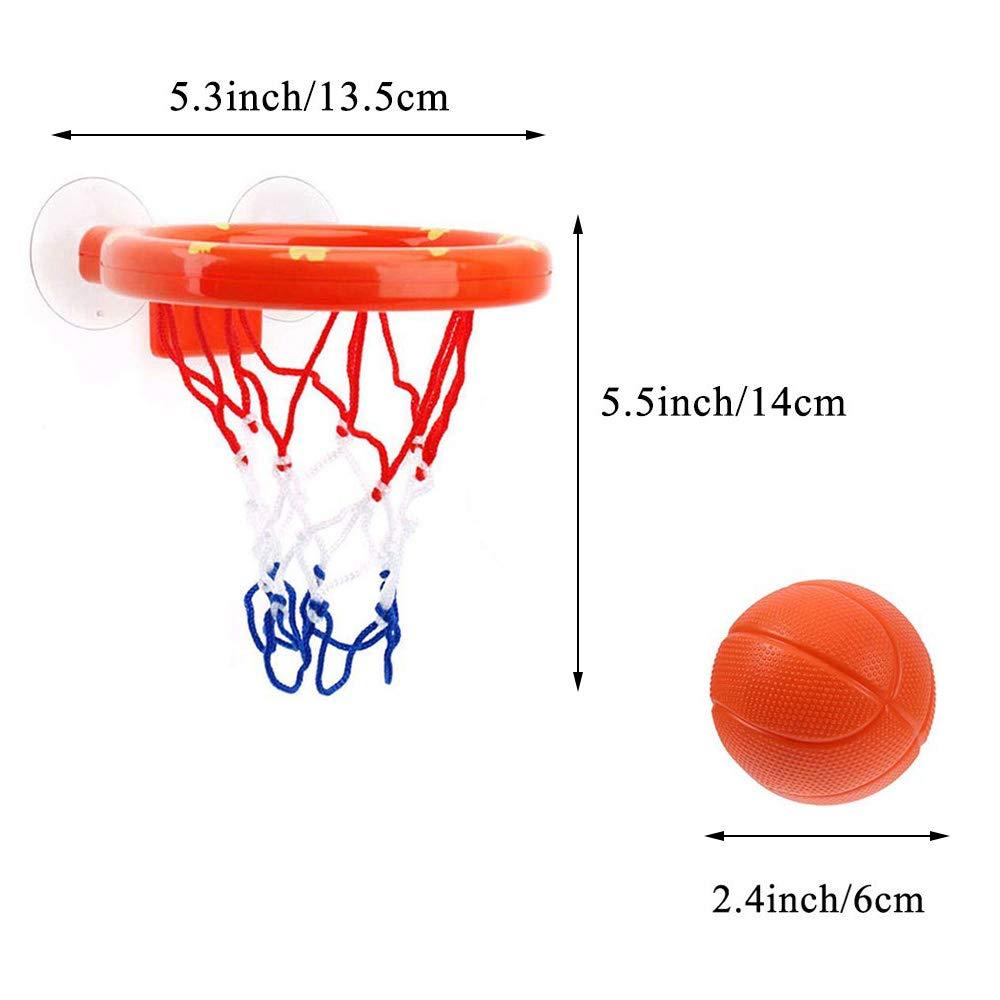Orange Bath Toy Fun Bath Basketball Hoop /& Balls Set for Kids Toddler with 3 Balls,Bathtub Shooting Game for Little Boys Girls