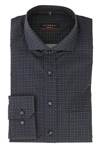 ETERNA Herren Business Langarm Hemd mit Hai Kragen aus 100% Baumwolle Modern Fit geschnitten Gr.46 Marine Bedruckt