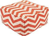 Surya Contemporary Square pouf/ottoman 24''x24''x13'' in Orange Color From Surya Poufs Collection