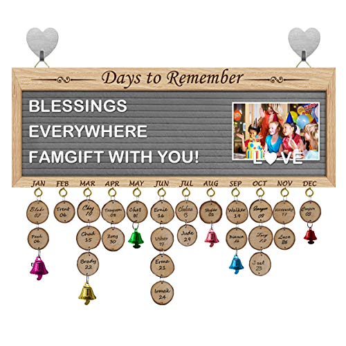 FamGift Gifts for Moms Dads- Wooden Family Birthday Calendar/Multi Function Message Board/Personalized Letters&Symbols/Decorative Bells/Grey Felt/Important Days Tracker Plaque Wall Hanging(New Grey)