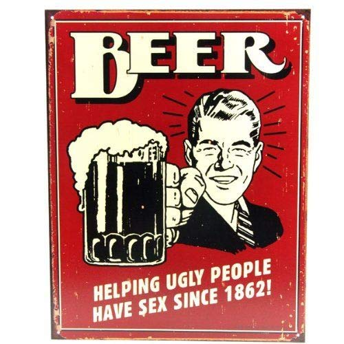 ShopForAllYou vintage decor wall signs Beer Helping Ugly People Have Sex Since 1862 Humor Bar Pub Wall Art Decor Sign ()
