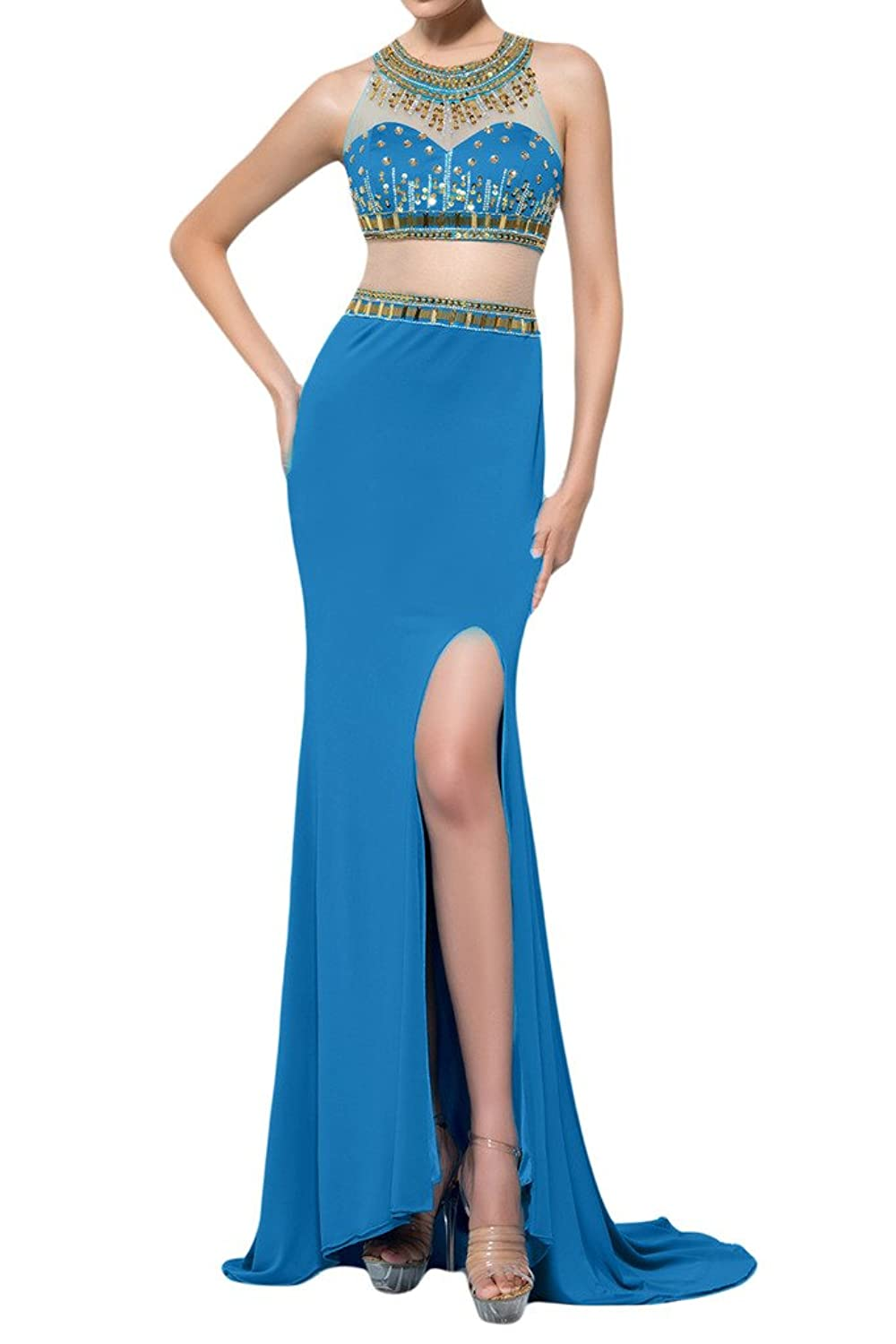 Sunvary Sheath Slide Slit Two Pieces with Chapel Train Party Gowns Evening Dresses