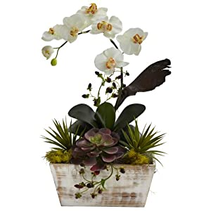 Nearly Natural 1326 Orchid and Succulent Garden with White Wash Planter, White 8