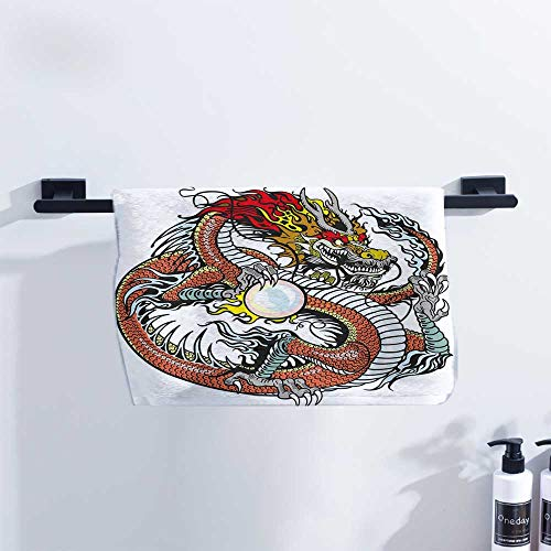 Dragon Hand Towel Traditional Chinese Creature Holding A Large Pearl Zodiac Signs Folk Tattoo Graphic Ultra Absorbent W14 x L14 Multicolor