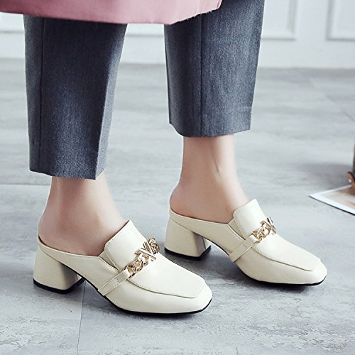 Qingchunhuangtang@ Frühling und Sommer Sandalen und mit dicken Square und Sandalen Hausschuhe Baotou Hausschuhe faul Schuhe Rice Weiß ec6e09