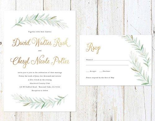 Rustic Watercolor Wedding Invitation, Gold Greenery Wedding Invitation, Greenery Wedding Invite by Alexa Nelson Prints