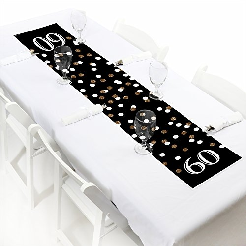 (Big Dot of Happiness Adult 60th Birthday - Gold - Petite Birthday Party Paper Table Runner - 12