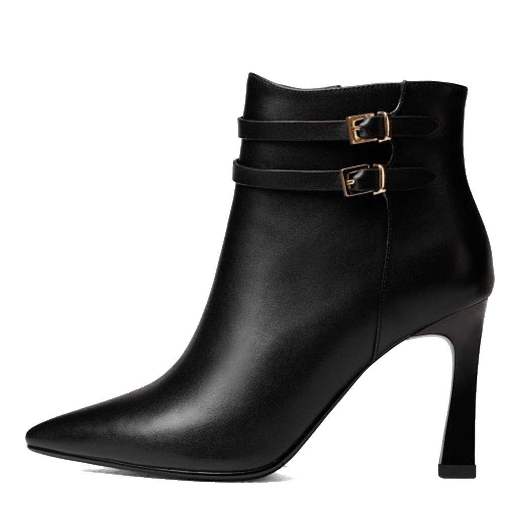 RLYAY Damen Spitzen High Heels Stiletto Warm Martin Stiefel Schwarz Weiß    Die Farbe ist sehr auffällig