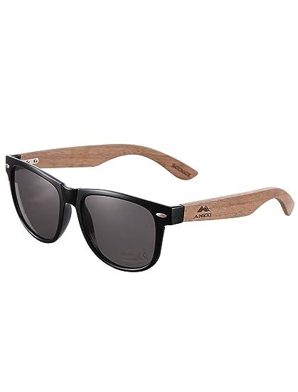 AMEXI Gafas de Sol en Madera, Gafas sol Hombre Mujere polarizadas, UV400 Protection (Gris)