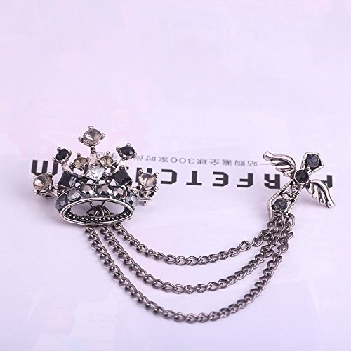 (16 Yiwu factory outlets in Europe and America men's cross brooch badge fringed British crown Accessories)