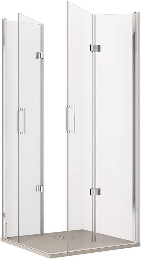 Olimpo - Mampara de Ducha Angular de 190 cm de Altura, 2 Puertas Tipo Libro de Cristal de 6 mm, Transparente, 75 x 75 cm: Amazon.es: Hogar