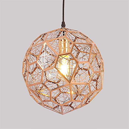 (Shfmx Modern Metal Ball Pendant Light Single Head Diamond Chandelier Adjustable Chain Titanium Gold,M)