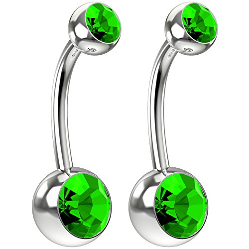 Peridot Crystal Swarovski Ring (2pc 14g Swarovski Crystal Belly Button Ring CZ Peridot Green Jeweled 3/8 Sexy Women Navel Rings)
