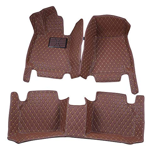 Bonus-Mats Custom Fit Luxury XPE Leather All-Weather Full Surrounded Waterproof Car Floor Mats for (Infiniti QX80 3 Rows, Coffee) ()