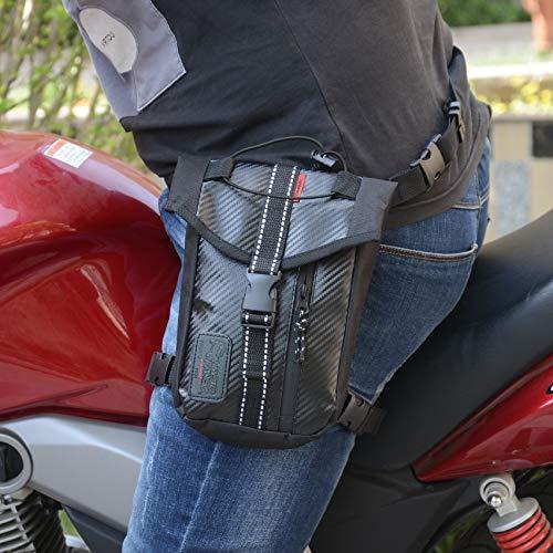 Ocamo Waterproof Oxford Thigh Drop Waist Leg Bag Male Motorcycle Fanny Pack - Black