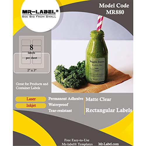 Mr Label Matte Frosted Rectangle Labels product image