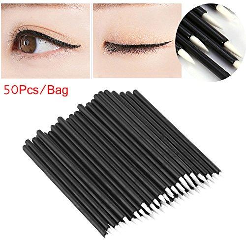 OKOKMALL US--50Pcs Eyeliner Liquid Brush Applicator Swab Microbrush Eyelash Extension Tools.