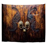 Cheap A.Monamour Retro Old Chinese Lion Shaped Door Knocker Grunge Rustic Brown Wooden Door Engraving Bat Pattern Print Fabric Wall Hanging Tapestry Wall Art Curtains for Bedroom Dorms 180X230Cm/71 X90