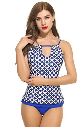 Ekouaer Mujer Tops de Bikinis Estampado de Playa Deportivo Tankini Baño Azul y Blanco