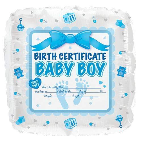 CTI Foil Balloon 414006 BABY BOY BIRTH CERTIFICATE 17