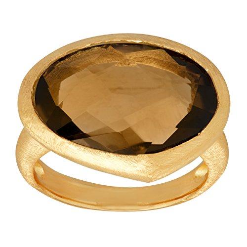 Piara 8 1/5 ct Natural Smokey Quartz Ring in 18K Gold-Plated Sterling Silver Size 7 (Gold Plated Smokey Quartz)